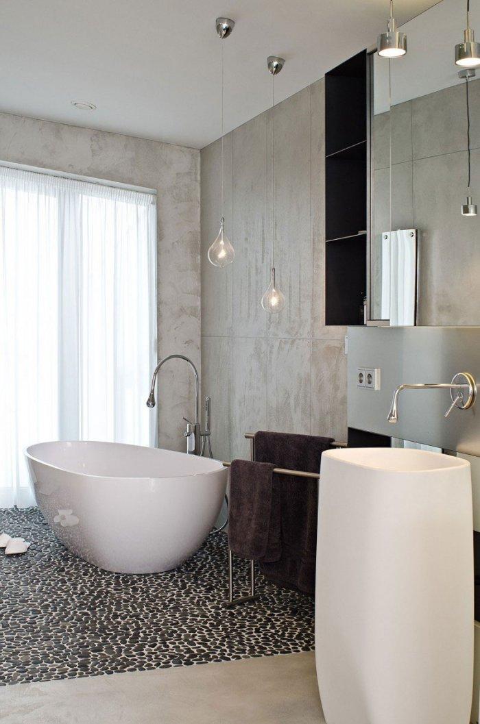 Stylish Contemporary Bathroom Design  - Concrete as a Global Apartment Interior Design Trend