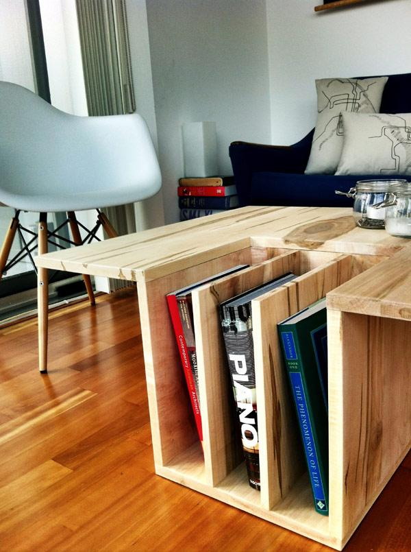Unique Wooden Coffee Table used as Books Holder