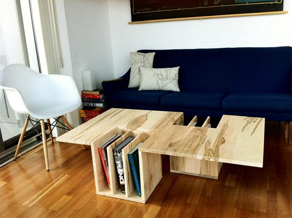 Wooden Coffee Table used as Books Holder