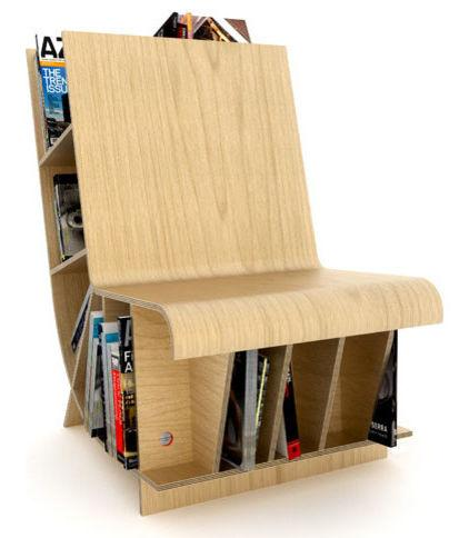 Wooden Chair used as a Newspaper and Magazine Holder - 7 Unique and Creative Contemporary Furniture Examples
