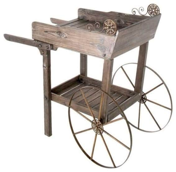 Wooden Garden Rolling Cart - How to Decorate a Garden without Patio Furniture?