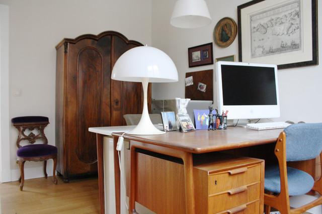 Wooden Working Desk Decoration - Eclectic Interior Design of a Modern Home in Brussels