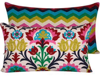 Low-Cost Decoration Ideas - Beautiful coloroful textile patter on a cushion