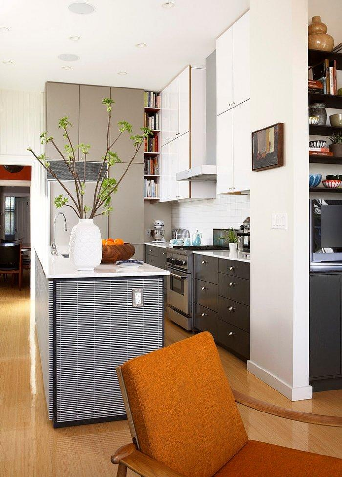 Contemporary white open kitchen - The Eclectic Interior Design of an Edwardian Home in S.F.
