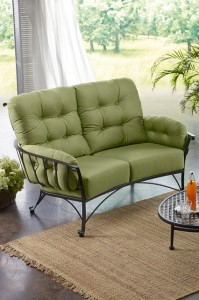 Cozy and Comfortable Green Patio Small Sofa - Patio And Outdoor Furniture Ideas and Examples