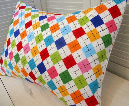 Low-Cost Decoration Ideas - Pillow with craetive squared colorful textile pattern