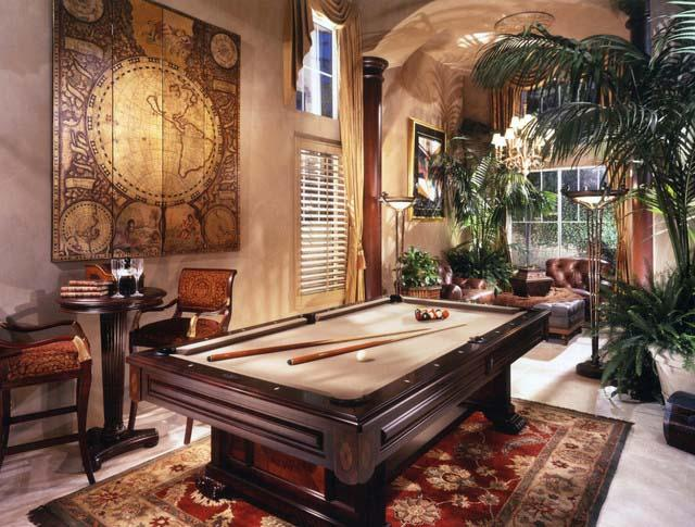 Home billiard room decorated with green plants - Green Room Home Decor Ideas - The Jungle Inspiration