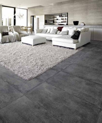 Concrete looking floor tiles
