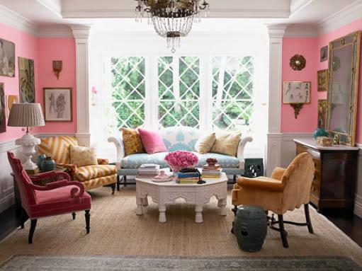 Living room with pink walls and paintings on them - Home Decorating Tips and Interior Color Schemes