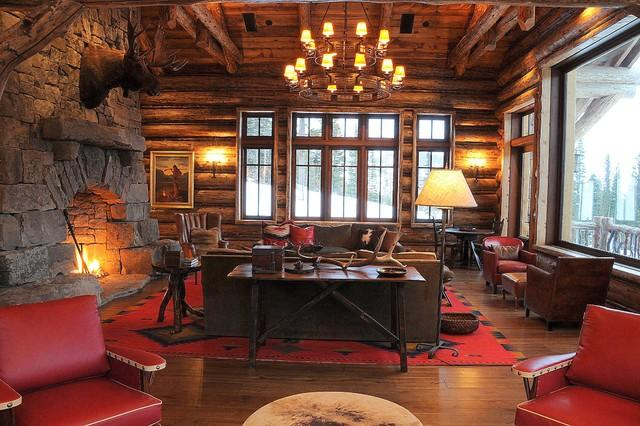 Mountain Lodge Living room in rugged and rustic interior design in Montana, USA