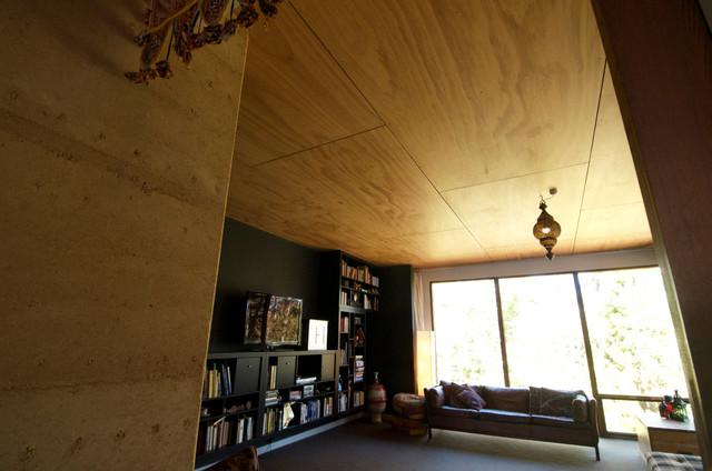 Living room with wooden panels on the ceiling - Sustainable Home Interior Design - an Exciting Review