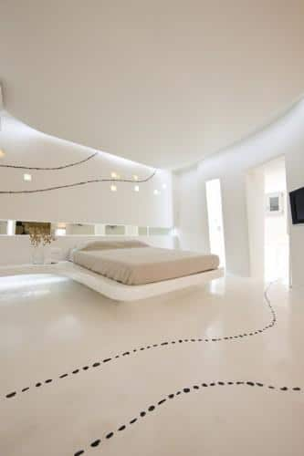 Futuristic Hotel Interior Design - Modern hotel room in Mykonos, Greece