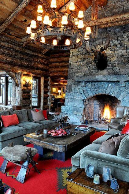 MMouintain lodge living room desidned in wood and stone in Montana, USA