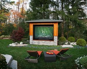 Outdoor Lounge Chairs and Home Theater System - Outdoor Media Entertainment Room for Garden Fun
