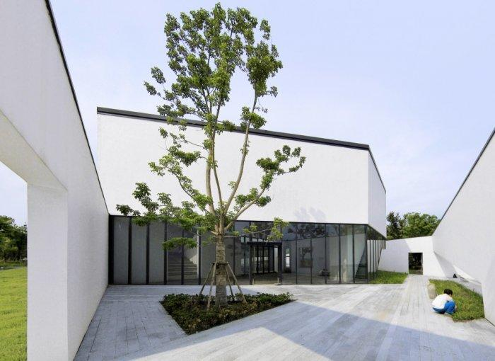Outdoor Patio Tree - Contemporary Bookstore Architecture and Design, Shanghai