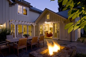 Garden Guide to Patio at Night – Furniture and Outdoor Fireplace