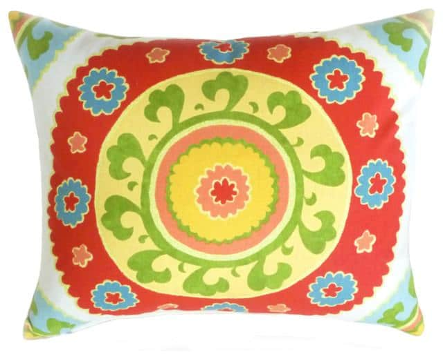 Low-Cost Decoration Ideas - Cushion with psychedelic colorful floral elements on it