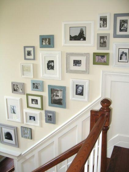 A set of different wall pictures used besides the staircase - Arranging them as Home Decoration