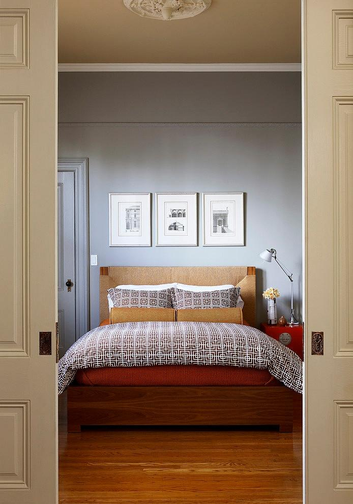Small bedroom with stylish designer bed sheets - The Eclectic Interior Design of an Edwardian Home in S.F.