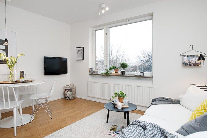 Small Scandinavian bedroom interior design in Gothenburg