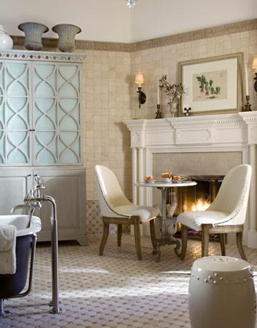 Table With Two Chairs In Front Of A Fireplace The Bathroom 10 Smart Kitchen