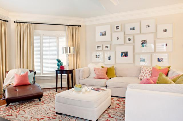 White and Cozy Living Room with pictures on the wall - Arranging them as Home Decoration