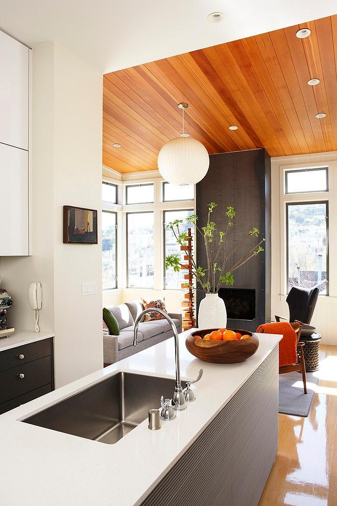 White minimalist open kitchen design - The Eclectic Interior Design of an Edwardian Home in S.F.