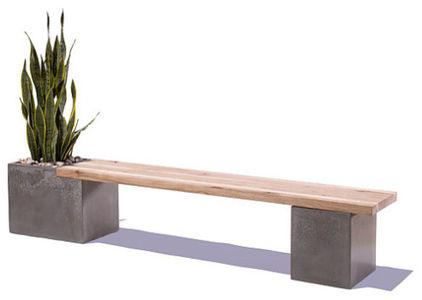 Fantastic Patio Bench Created Of Wood And Concrete Examples
