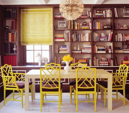 Yellow dining room cane chairs as a Part of the Home Interior Design