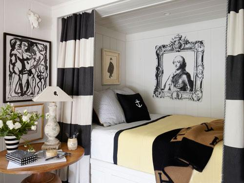 Black and white curtains in front of a bed - Small Room Ideas - Interior Design and Decoration