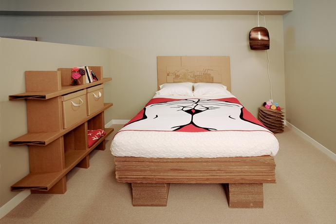 100% Recyclable Cardboard bed and cupboard in the bedroom Design Ideas
