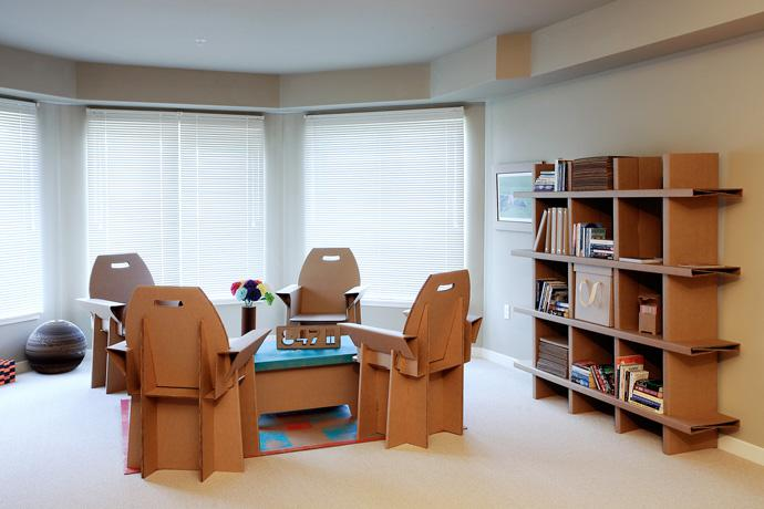 100% Recyclable Cardboard chairs, coffee table and cupboard in the living room Design Ideas
