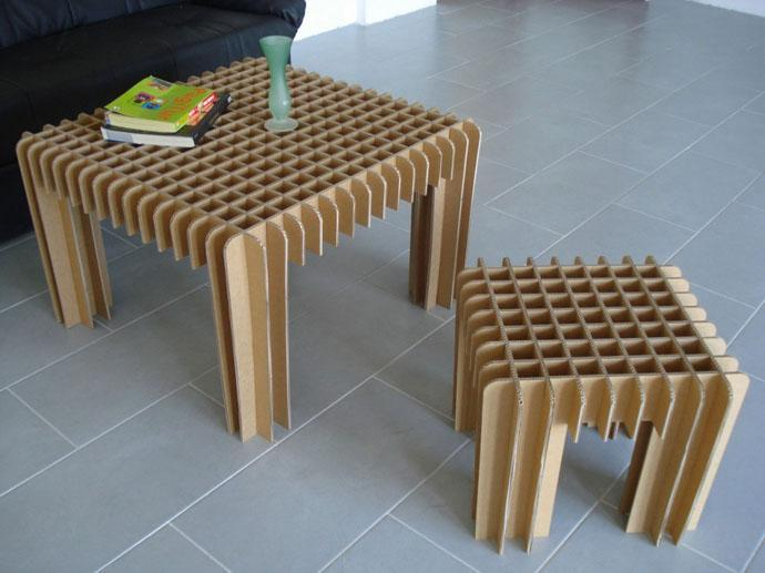 100% Recyclable Small cardboard coffee table and a small stool Design Ideas