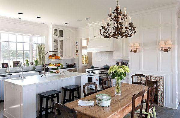 Top 18 Ideas for your Classic white kitchen and wooden dining table