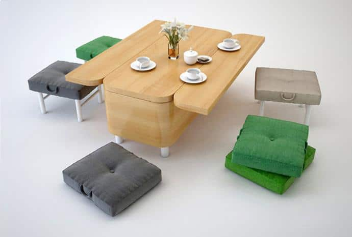 The Hottest Flexible Furniture - Convertible small wooden dining table with stools and sitting pillows