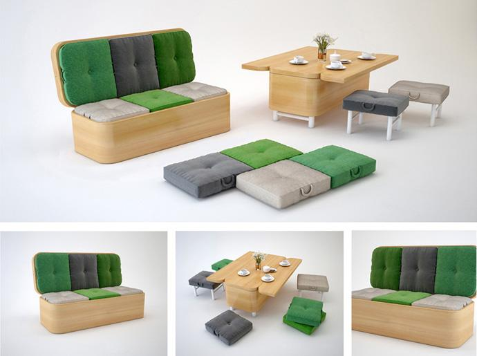The Hottest Flexible Furniture - Convertible sofa designs that can be transformed into a small dining table.