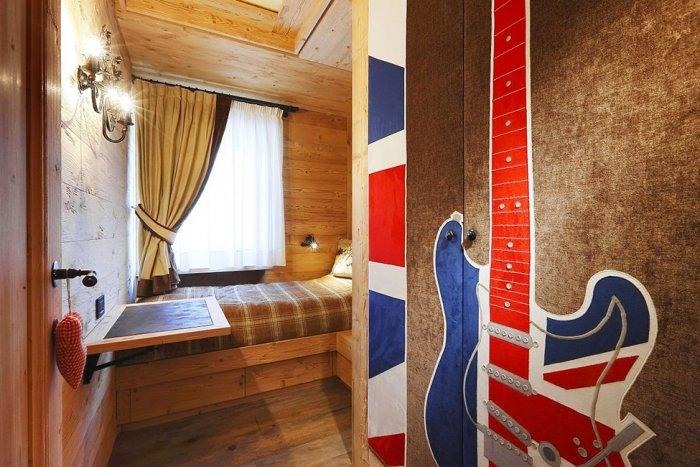 Wooden interior design of an apartment in a rustic style