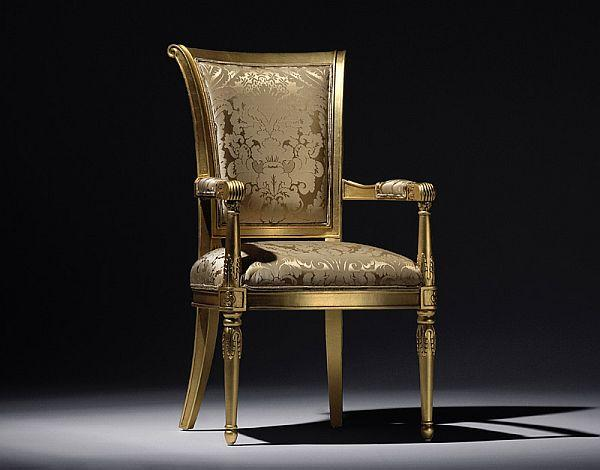 Gold colored chair with floar texture - Modern home furniture collection - Alexandra