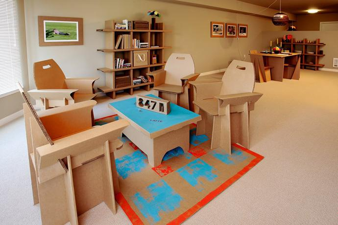 100% Recyclable Living room interior design with cardboard furniture Design Ideas