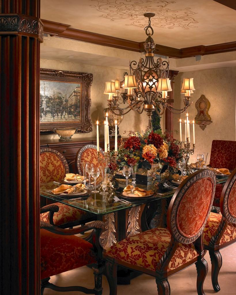 Luxury dining room interior design In Rich Jewel Tones by Perla Lichi