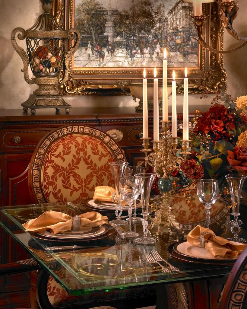 Luxury dining table In Rich Jewel Tones by Perla Lichi
