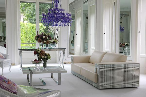 Luxury modern living room with a Versace sofa in it - Lomond Glass by Versace