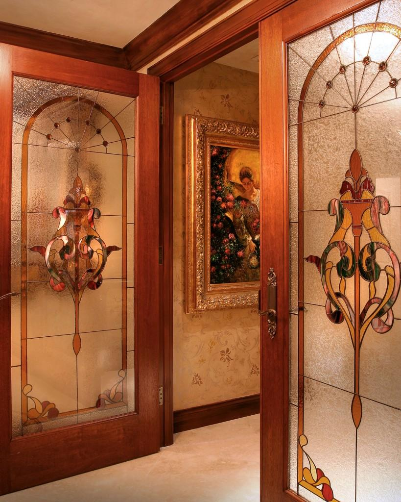Luxury stained entrance doors In Rich Jewel Tones by Perla Lichi