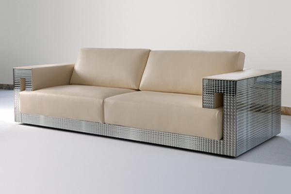 Luxury Sofa Furniture Design - White leather versace sofa