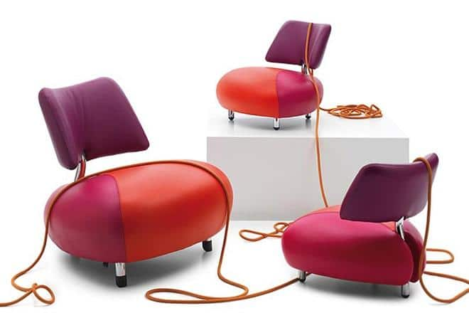 Orange and purple leather futuristic amrchair - Desing by Leolux