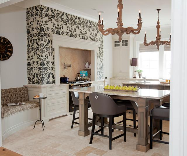 Ornamental Wallpaper Over A Kitchen Stove   French Style Kitchen Interior  Design