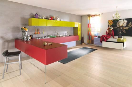 Red and yellow kitchen design Ideas for Kitchen Furniture