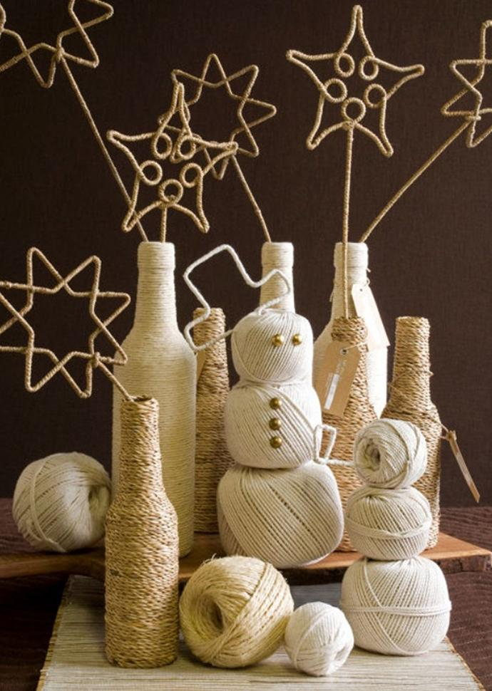 Rope wrapped around bottles - Rustic Interior Decoration Ideas with Ropes