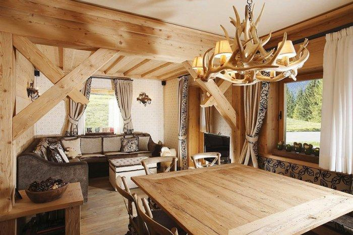 Wooden interior design of an apartment in a rustic style founterior - Deco interieur nature ...