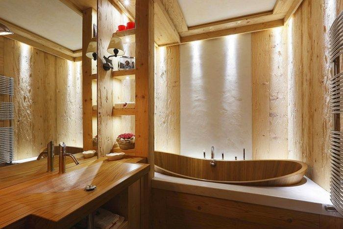 Wooden interior design of a rustic small bathroom
